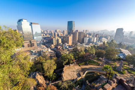 santiago: View of the skyline of Santiago, Chile with a park visible shot from Cerro Santa Lucia Stock Photo