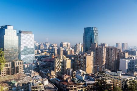산티아고, 칠레의 스카이 라인의 전망 스톡 콘텐츠