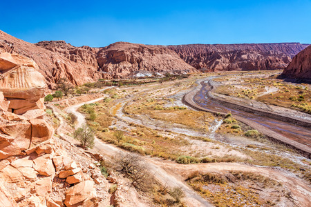 high desert: Wide canyon near San Pedro in the Atacama desert in Chile Stock Photo