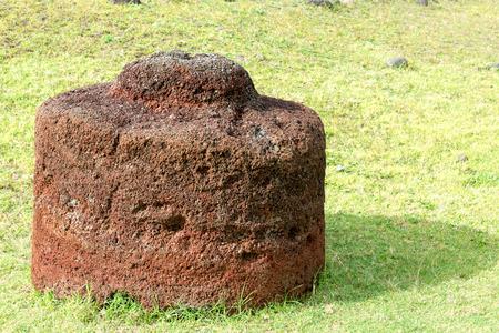rano raraku: Pukao fallen off of a Moai statue on Easter Island