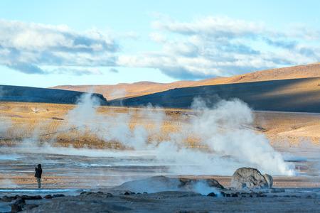 atacama: Steam rising out of the ground at the El Tatio Geyser near San Pedro de Atacama, Chile Stock Photo