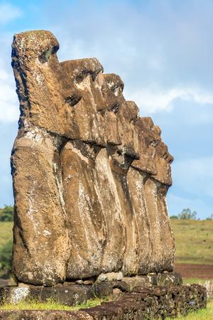 rano raraku: Seven Moai statues on Easter Island, Chile