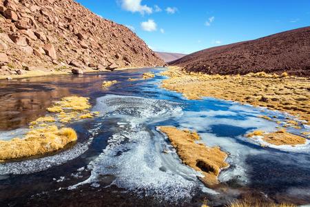 san pedro: Frozen stream in the highlands of northern Chile near San Pedro de Atacama