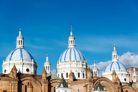 brick: Blue domes of the cathedral in Cuenca, Ecuador
