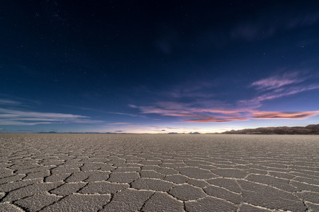 Salt flats of Uyuni, Bolivia as seen at night