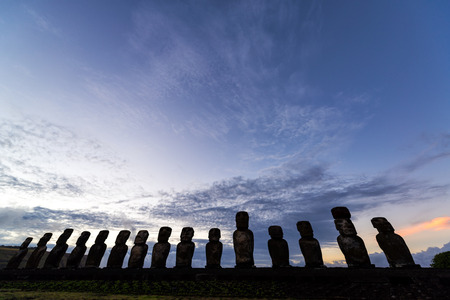 easter island: Sunrise on Easter Island at Ahu Tongariki
