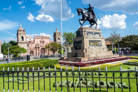 puna: The Plaza de Armas with the cathedral in the background in Ayacucho, Peru Editorial