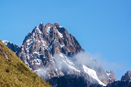 andes mountain: Rocky mountain in the Cordillera Blanca in the Andes mountains near Huaraz, Peru