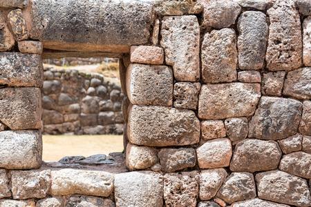 incan: Incan wall of Pukapukara fortress near Cuzco, Peru