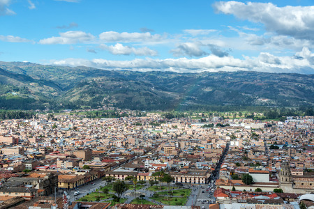 plaza de armas: Cityscape view of Cajamarca, Peru and the surrounding hills with the Plaza de Armas visible at the bottom Stock Photo