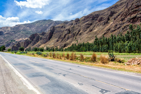 pisac: View of a road and the Sacred Valley near Pisac, Peru