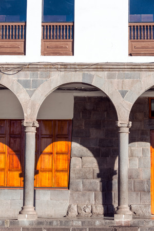 peru architecture: View of arches and colonial architecture in Cuzco, Peru