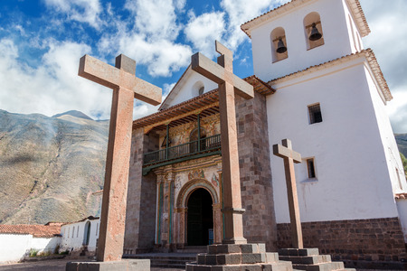 church bell: The historic colonial church Andahuaylillas near Cusco, Peru.  The church is nicknamed The Sistine Chapel of America Stock Photo