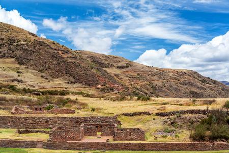 incan: View of Incan ruins of Tipon near Cusco, Peru