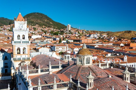 historic buildings: View of Sucre, Bolivia known as the White City Stock Photo