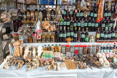 march 17: IQUITOS, PERU - MARCH 17: Animals parts and jungle spices for sale in Belen Market in Iquitos, Peru on March 17, 2015 Editorial