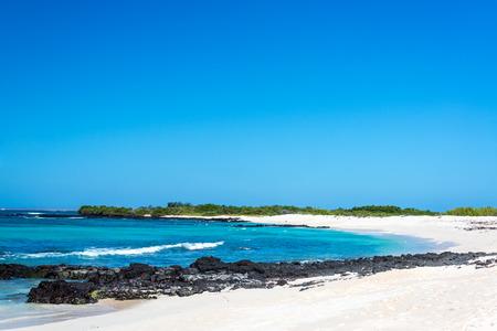 ecuador: Bacha Beach, a beautiful white sand beach on Santa Cruz Island in the Galapagos Islands in Ecuador