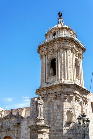 domingo: Vertical view of Santo Domingo church in the historic center of Arequipa, Peru