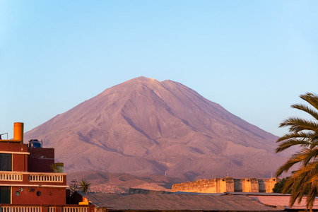 stratovolcano: View of the El Misti Volcano near Arequipa, Peru taken at the golden hour
