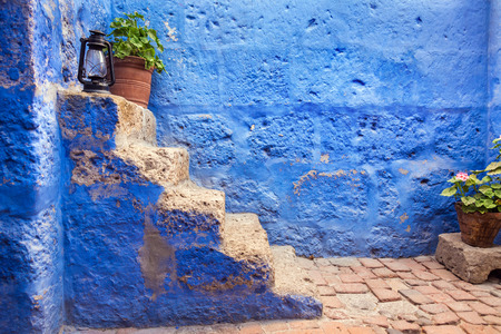 convent: Blue stairway in the historic Santa Catalina Monastery in the center of Arequipa, Peru
