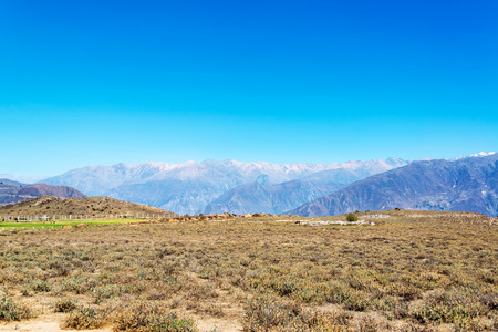 deepest: View of the landscape surrounding Colca Canyon near Arequipa, Peru