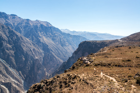 deepest: View of a viewpoint to see andean condors in Colca Canyon near Arequipa, Peru