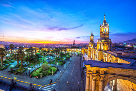 plaza de armas: Night falling on the Plaza de Armas in the historic center of Arequipa, Peru