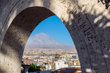 stratovolcano: Looking at El Misti Volcano through and arch towering over Arequipa, Peru