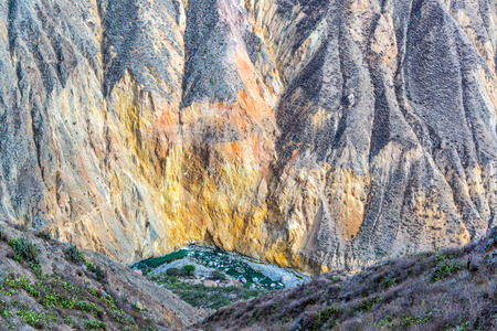deepest: View of colors inside of Colca Canyon in Peru Stock Photo