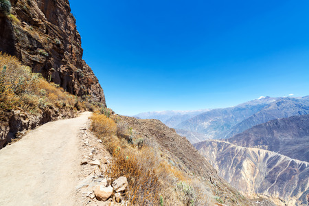 deepest: Trail leading into and out of Colca Canyon in Peru Stock Photo