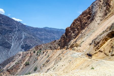deepest: Rider on a horse in Colca Canyon in Peru