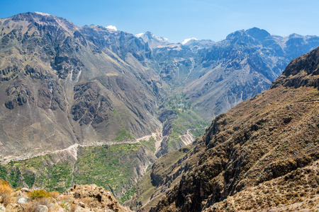 deepest: Dramatic view of the steep walls of Colca Canyon in Peru