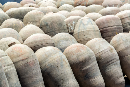 distillery: Amphoras used in the production of pisco seen in Ica, Peru Stock Photo