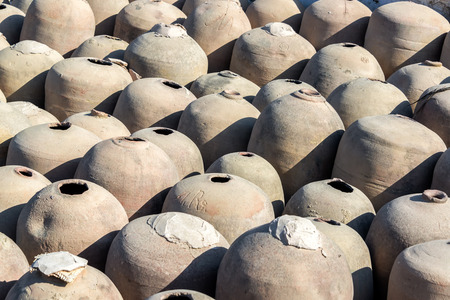 previously: Clay jars previously used in the production of pisco in Ica, Peru