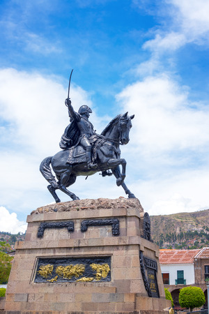 plaza de armas: Statue of Mariscal Sucre in the Plaza de Armas of Ayacucho, Peru