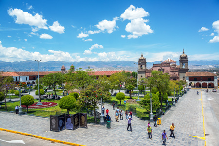 plaza de armas: AYACUCHO, PERU - NOVEMBER 4: People passing through the Plaza de Armas in Ayacucho, Peru on November 4, 2014 Editorial