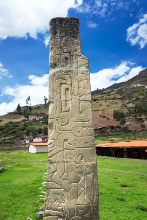 obelisk stone: Tello Obelisk at the site of Chavin de Huantar in Peru Stock Photo