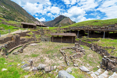 Courtyard of the historic ruins of Chavin de Huantar in Peru