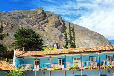 colonial building: Old colonial building with hills rising high above in Tarma Peru
