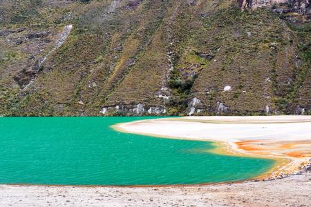 ancash: Beautiful turquoise lake in the Andes mountains near Huaraz Peru