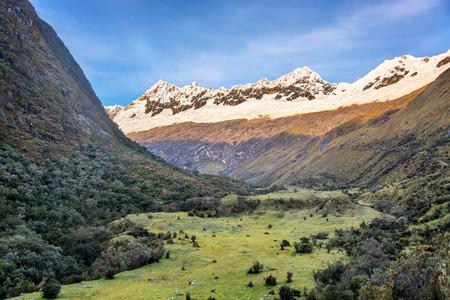 cordillera: View a valley and Andes mountains in the Cordillera Blanca near Huaraz Peru