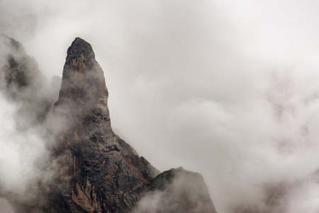 cordillera: View of Andes mountains covered in clouds and fog near Huaraz Peru Stock Photo