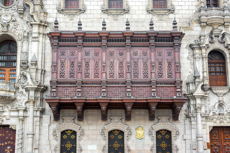 lima: Historic architecture on the Plaza Mayor in the historic center of Lima Peru