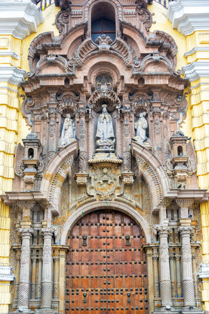 lima: Entrance to the San Francisco Church and Convent in Lima peru Stock Photo