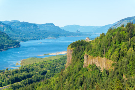 landscape rural: Looking down the Columbia River Gorge with Vista House visible on the hill