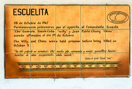 guerrilla: LA HIGUERA BOLIVIA  AUGUST 6: Plaque at the location Che Guevara was executed on October 8 1967 in La Higuera Bolivia seen on August 6 2014