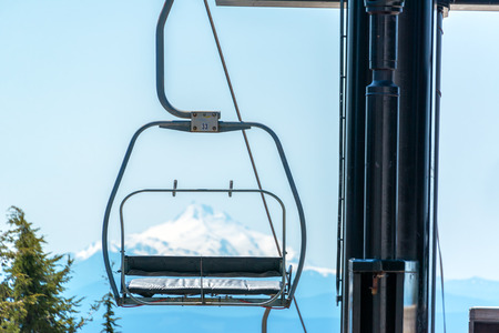 mount hood: Chairlift on Mount Hood with Mount Jefferson visible in the background