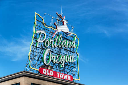 old sign: Iconic Portland Oregon Old Town sign