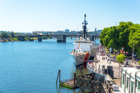 coast guard: PORTLAND OR  JUNE 6: Coast Guard ship on the waterfront in Portland Oregon as part of Fleet Week during the Rose Festival on June 6 2015