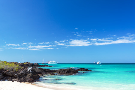 south pacific: Bacha Beach and pristine water on Santa Cruz island in the Galapagos Island in Ecuador Stock Photo